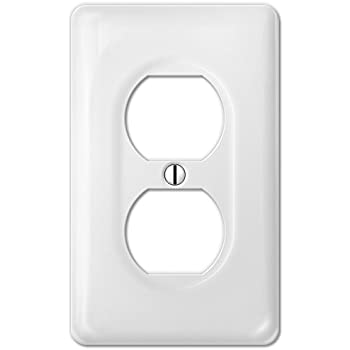 amerelle 3020dw classic ceramic wall plate 1 duplex outlet white