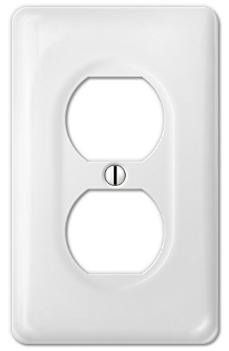 Amerelle Allena Single Duplex Ceramic Wallplate in White - Ceramic Outlet