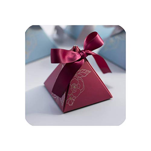 Little cute shop Triangular Pyramid Candy Box Wedding Favors and Gifts Boxes Candy Bags for Guests Wedding Decoration Baby Shower Party Supplies,Maroon,100 PCS