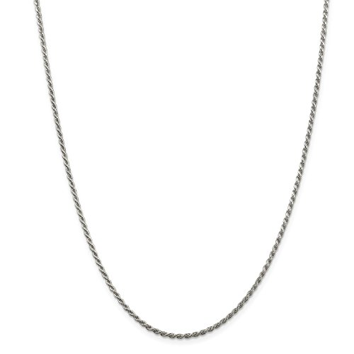 Lex & Lu Sterling Silver 1.75mm D/C Rope Chain Necklace or - D/c Chain Rope