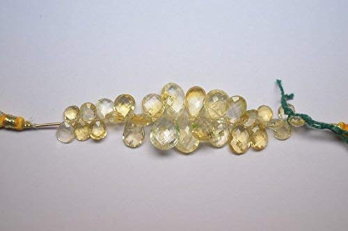 4 Inch 7x10-11x16mm Natural Citrine Faceted Flat Pear Drop Briolette Beads Strand by Gemswholesale - Faceted Flat Briolette Beads