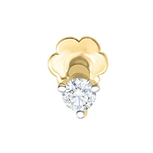 Panache Exports 0.05ct Real I1 Real Diamond Nose Pin Screw Stud Piercing Ring Bone 14k Gold (0.05 Ct Real Diamond)