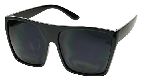 Basik Eyewear - Big XL Large Square Trapezoid Shape Oversized Fashion Sunglasses (Glossy Black, SUPER Dark - Glossy Sunglasses