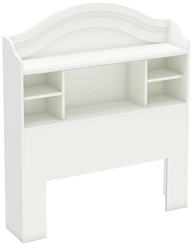 South Shore Savannah Twin Bookcase Headboard, Pure White (White Twin Storage Bed With Bookcase Headboard)