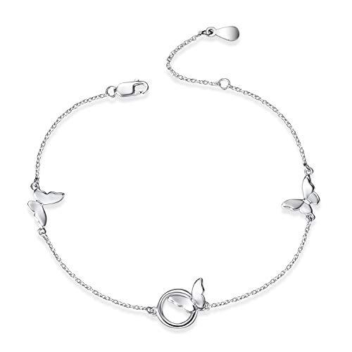 YFN Sterling Sliver Ankle Bracelet for Women, Boho Beach Adjustable Bracelet/Anklet for Teen Girls (butterfly bracelet)