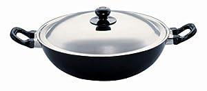 Hawkins Futura Non Stick Kadhai  Deep Fry Pan  with Steel Lid, 4L