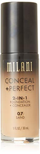 Milani Conceal + Perfect 2-in-1 Foundation + Concealer - Sand (1 Fl. Oz.) Cruelty-Free Liquid Foundation - Cover Under-Eye Circles, Blemishes & Skin Discoloration for a Flawless Complexion