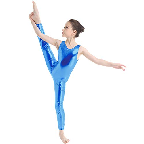 TiaoBug Kid's Metallic Sleeveless Long Sleeve Full Body Gymnastics Unitard Foil Costumes Lycra Spandex Tank Bodysuit Blue 12-14 -