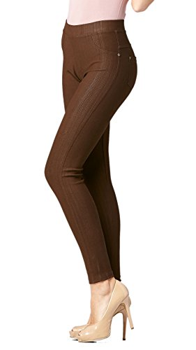 Dark Brown Khaki (Conceited Premium Soft Jeggings Denim Leggings In 7 Colors - Regular and Plus Sizes by (X-Large/2XL, A Dark Brown))