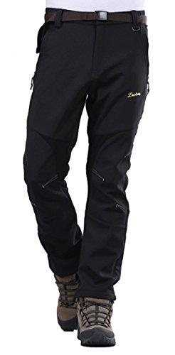 Geval Men's Windproof Softshell Fleece Ski Pants(Black,L)