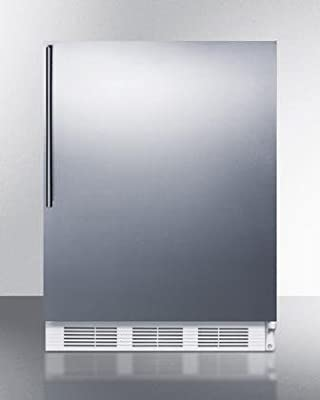 """Summit AccuCold ALB751SSHV 24"""" Wide 5.5 Cu. Ft. Built-In Undercounter All Refrigerator with Automatic Defrost Deep Shelf Space Hidden Evaporator and Adjustable Thermostat in Stainless"""