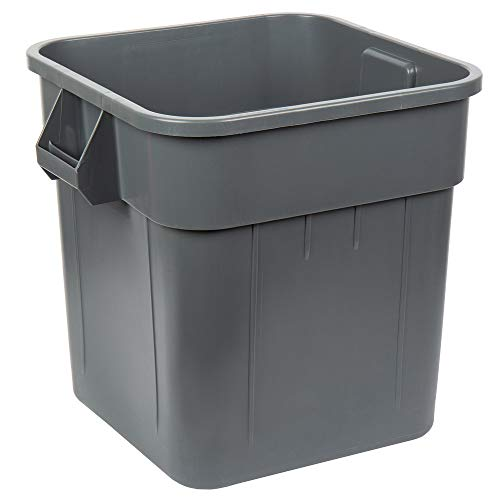 Continental 2800GY 32-Gallon Huskee LLDPE Waste Receptacle, Square, Gray