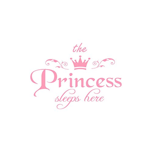 The Princess Wall Decals, Removable DIY Art Decor Wall Stickers Murals for Living Room TV Background Kids Girls Rooms Bedroom Decoration (Pink, 45x32.5cm)