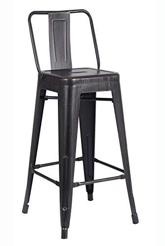 Miraculous Amazon Com Homeroots Distressed Metal Barstool With Back Creativecarmelina Interior Chair Design Creativecarmelinacom