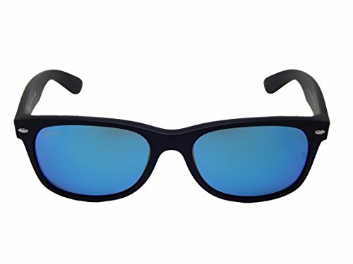 New Ray Ban RB2132 622/17 Matte Black/Blue Mirror 55mm Sunglasses