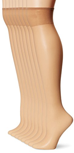L'eggs Women's Plus-Size Everyday Knee High Sheer Toe (Pack Of 8), Nude, One Size