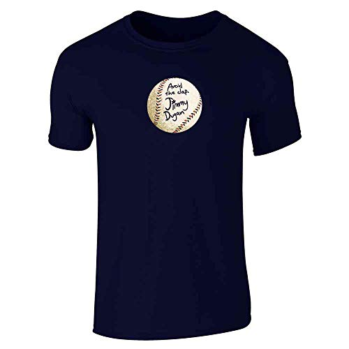Pop Threads Avoid The Clap Jimmy Dugan Baseball Autograph Navy Blue L Short Sleeve T-Shirt