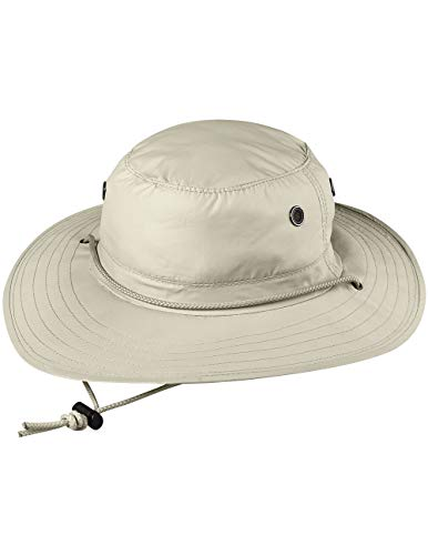 Sun Block Rafter Hat - Adjustable Chin Cord with Coolmax Sweatband - MD/LG Beige