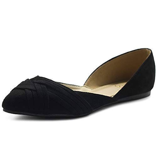 Ollio Women's Shoes Faux Suede Light Comfort D'Orsay Pointed Toe Braided Ballet Flats F85 (9 B(M) US, Black)