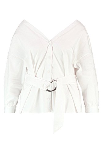 Boohoo Womens Plus Size Penelope Off The Shoulder Belted Shirt In White Size - Boohoo Off 20