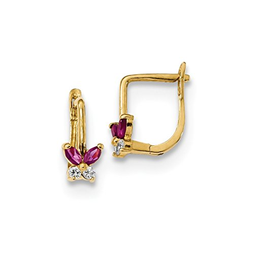 14k Yellow Gold Red White Cubic Zirconia Cz Butterfly Hoops Hoop Animal Fine Jewelry Gifts For Women For Her]()