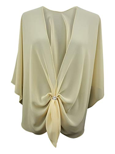 - eXcaped Women's Evening Shawl Wrap Sheer Chiffon Open Front Cape and Silver Scarf Ring (Maize Yellow)