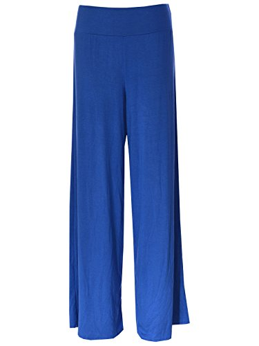 Nuevo Nbsp; 26 Palazzo Weites Azul 8 Pantalón Real Pierna Plaine Surdimensionnée Exposé Mujer Sq4nOwSU