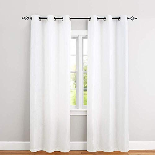 2 Panel Curtain Set - White Curtains for Bedroom 84 inches Length Waffle-Weave Textured Curtain Panels for Living Room Window Treatment Set Kitchen Curtains 2 Panels