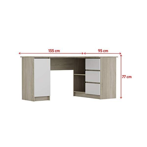 Selsey Bureaux, Chêne Sonoma/Blanc, 77 x 155 x 85