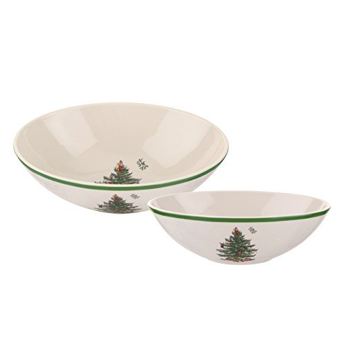 Spode Christmas Tree Oval Nesting Bowls, Set of 2 by Spode
