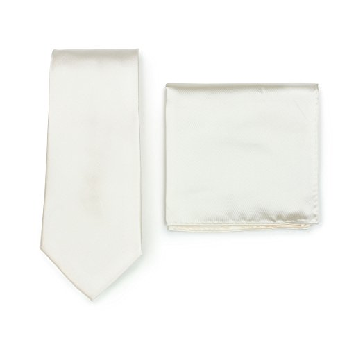 Bows-N-Ties Men's Solid Necktie and Pocket Square Set (Cream)