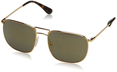 Prada PR 52TS 5AK4L0 Gold Square Aviator Sunglasses - Prada Rectangular Sunglasses Aviator