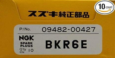 Suzuki Outboard (09482-00427) NGK BKR6E Box of 10 Spark Plugs 4-Stroke  (9 9, 15, 2004 thru 2010) 25 V-Twin, 90, 115, 140, 100A, 150, 175, 200A,  200,