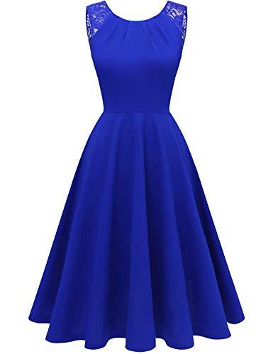 Bbonlinedress Women's Vintage Tea Dress V-Back Sleeveless Prom Party Swing Cocktail Dress RoyalBlue S