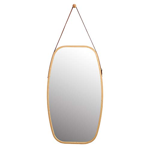 WILSHINE Bathroom Wall Hanging Mirror Bamboo Framed Rectangle Wall Mirror for Entryway -