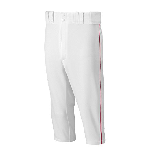 (Mizuno Adult Men's Premier Piped Short Baseball Pant, White-Red,)