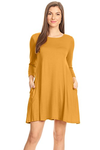 Special Yellow T-shirt - Mustard Yellow T Shirt Dress Casual Regular and Plus Size Jersey Loose Tunic Dress (Size Large, Mustard 3/4 Sleeve)