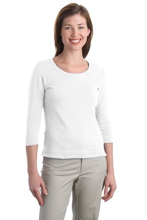 - Port Authority Ladies Modern Stretch Cotton 3/4-Sleeve Scoop Neck Shirt. L517