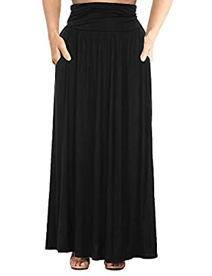 Allegrace Women's Plus Size Shirring High Waist Pleated Long Maxi Skirt with Pockets