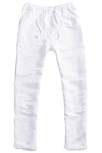 KAMUON Men's Casual Semi Relaxed Fit Breathable Cotton Linen Beach Pants Trouser (Waist 32