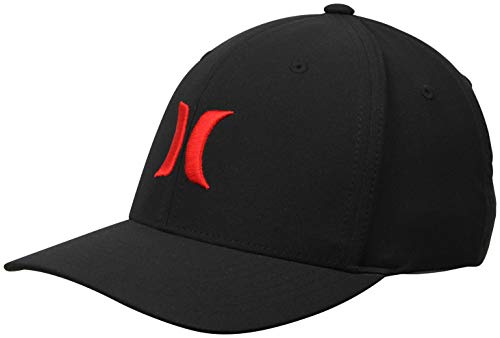 Hurley Men's Dri-Fit One & Only Flexfit Baseball Cap, Black/University Red, S-M ()