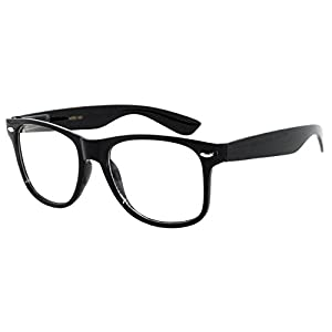 Classic Vintage Sunglasses 80's Style with Clear Lens Black Frame for Mens OWL.