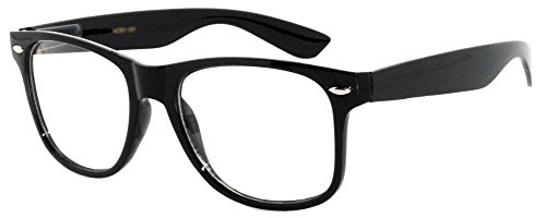 Style Clear Lens - Classic Vintage Sunglasses 80's Style with Clear Lens Black Frame for Mens OWL.