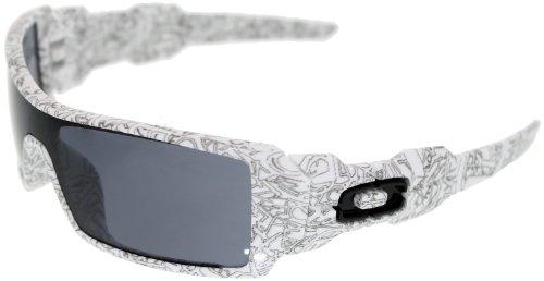 7e2372fc6b1d4 Oakley Oil Rig Men s Lifestyle Sports Wear Sunglasses - White Text  Print Grey