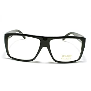 Black Classic Rectangular Clear Lens Plastic Frame Fashion Eye Glasses