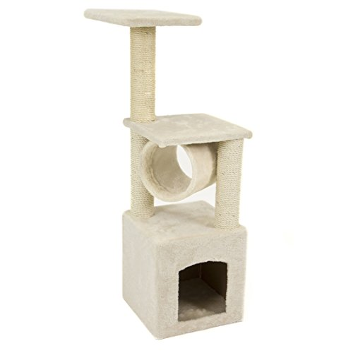 Best Popular 36'' Cat Tree Condo Play Scratching Post Toy House Color Beige (Gray Post 36' Beige)