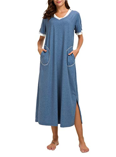 AVIIER Long Nightgowns Cotton Womens Lounge Dresses with Pockets V Neck Short Sleeve Night Shirt(Blue, XL)