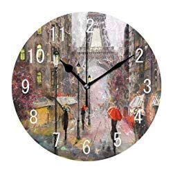 Artwork Street Oil Painting Paris Eiffel Tower France Round Wood Wall Clock for Home Decor Living Room Kitchen Bedroom Office School