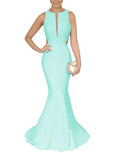 Backless Mermaid Green Bess Dress Formal Neck Bridal Prom Mint Deep Evening V Women's Ya4p4qRU