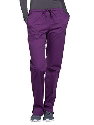 (Cherokee Workwear Core Stretch WW130 Mid Rise Drawstring Pant Eggplant S)